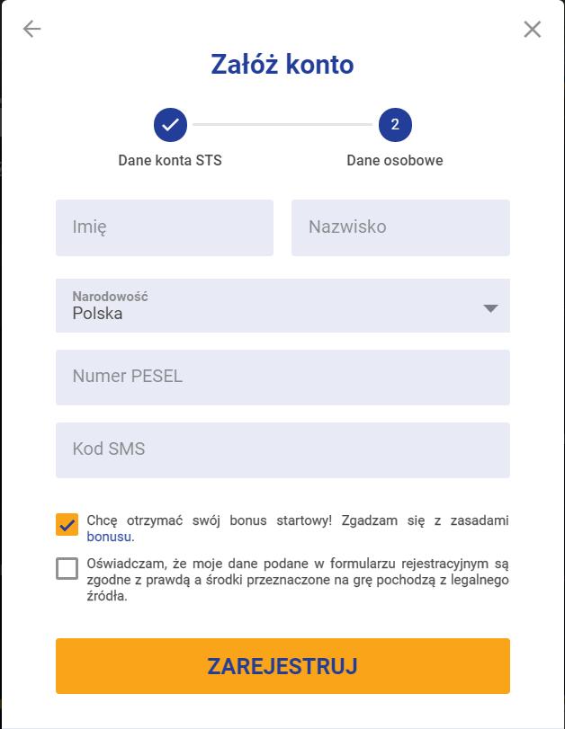 STS rejestracja - krok 3