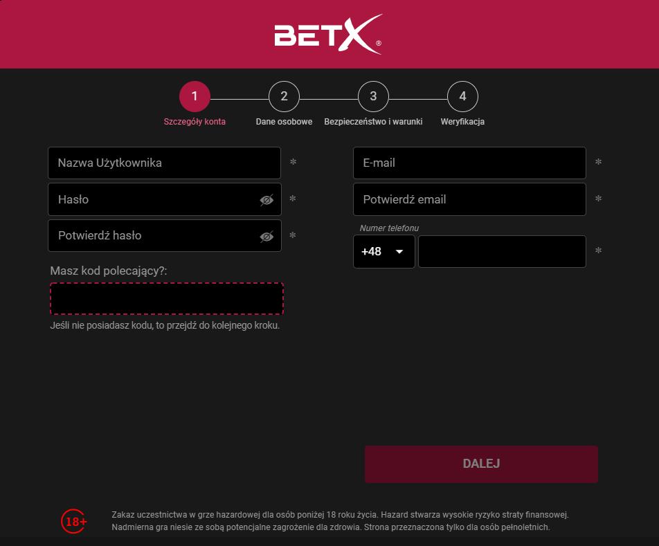 BetX rejestracja - krok 1