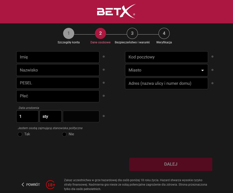 BetX rejestracja - krok 2